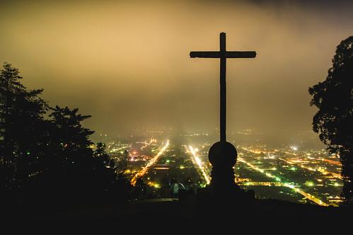 """Night view of Antigua, Guatemala from """"Cerro de la Cruz"""""""