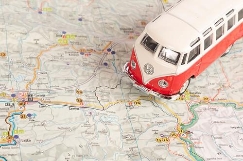 Vintage camper van on map