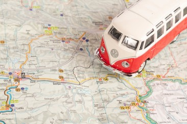 Vintage camper van on map